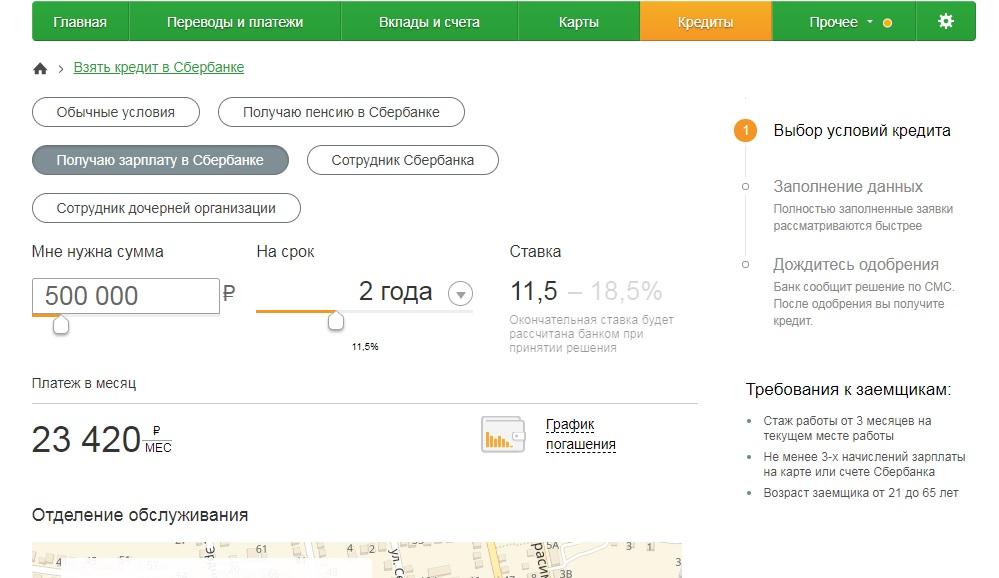 Получить кредит от Сбербанка онлайн