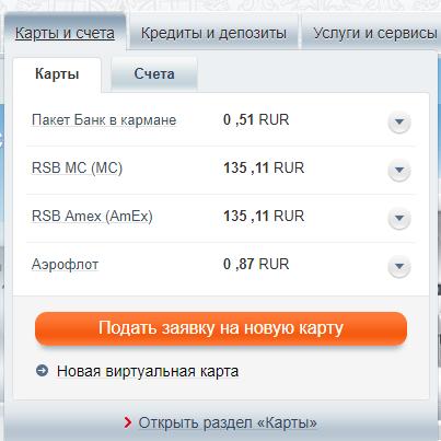 Функционал личного кабинета Русский Стандарт