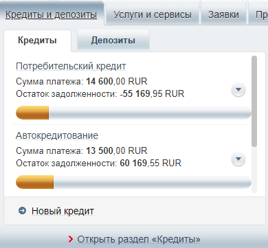 Информация в личном кабинете Русский Стандарт