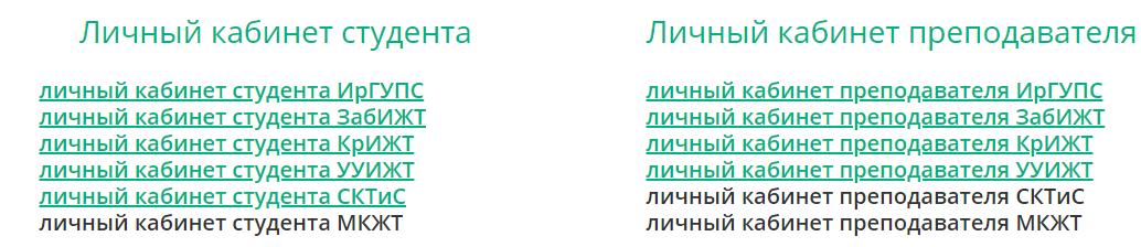 Вход в кабинет ИРГУПС